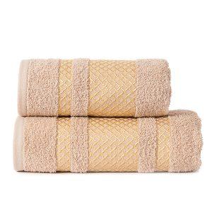 Ręcznik beżowy ze złotą bordiurą elegancki 50x90 Lionel