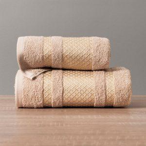 Ręcznik beżowy ze złotą bordiurą elegancki 70x140 Lionel