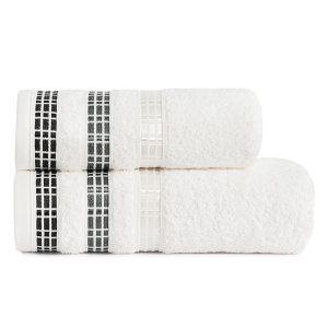 Ręcznik kąpielowy elegancki biały LUXURY 50x90 geometryczny