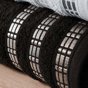 Ręcznik kąpielowy elegancki czarny LUXURY 50x90 geometryczny