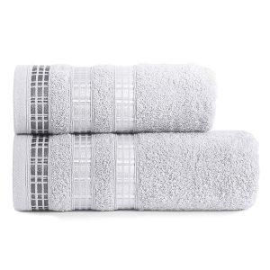 Ręcznik kąpielowy elegancki szary LUXURY 50x90 geometryczny