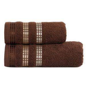 Ręcznik kąpielowy elegancki brązowy LUXURY 50x90 geometryczny
