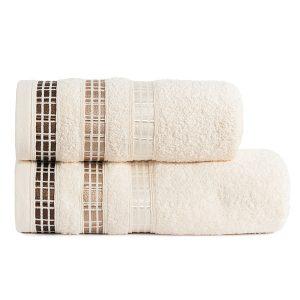 Ręcznik kąpielowy elegancki kremowy LUXURY 50x90 geometryczny