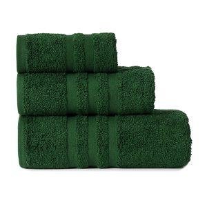 Gruby ręcznik frotte ciemny zielony kąpielowy 30x50 bawełniany mały