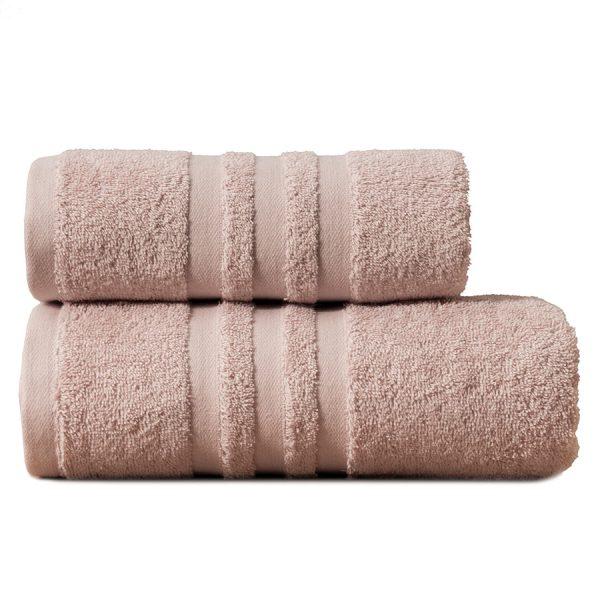 Gruby ręcznik frotte pudrowy róż kąpielowy 50×90 bawełniany nowoczesny