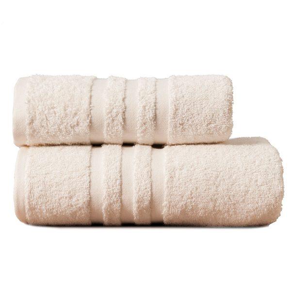 Gruby ręcznik frotte kremowy kąpielowy 50×90 bawełniany nowoczesny