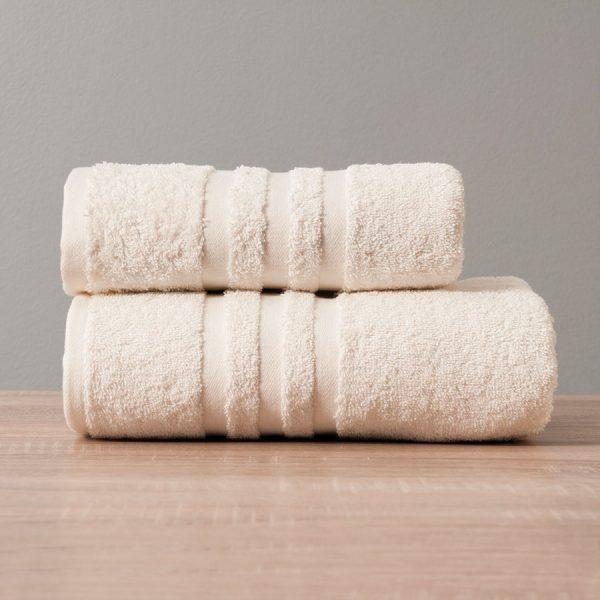 Gruby ręcznik frotte kremowy bawełniany kąpielowy 70x140 Modern