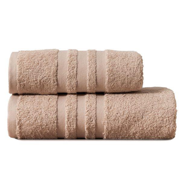 Gruby ręcznik frotte beżowy kąpielowy 50×90 bawełniany nowoczesny