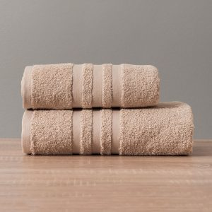 Gruby ręcznik frotte beżowy bawełniany kąpielowy 70x140 Modern