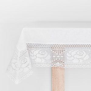 Obrus szydełkowy bawełniany z koronką biały 110x160