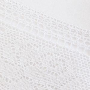 Obrus z koronką szydełkowy biały bawełniany 140x220