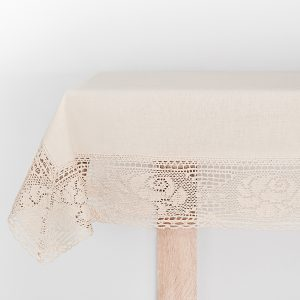 Obrus szydełkowy z koronką 130x180 bawełniany beżowynaturalny