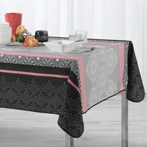 Obrus czarny szary różowy z orientalnymi wzorami 150x240 plamoodporny