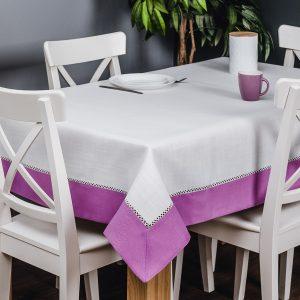 Obrus z mereżką biały fioletowy 110x160 obrus na stół prostokątny