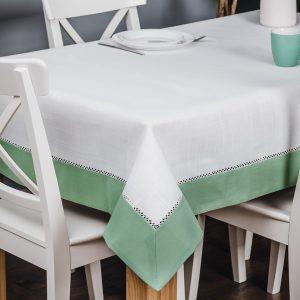 Obrus z mereżką biały zielony 110x160 obrus na stół prostokątny