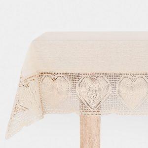 Obrus szydełkowy bawełniany beżowy z koronkową bordiurą 110x160