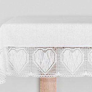 Obrus szydełkowy bawełniany biały z koronkową bordiurą biały 110x160