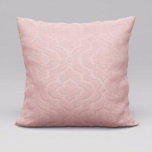 Poszewka ozdobna pudrowy róż 45x45 welwetowa marokańska koniczyna