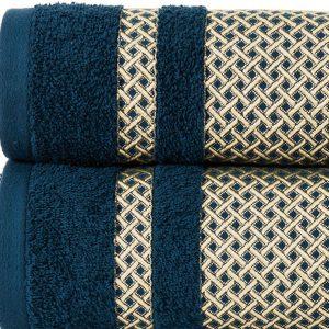 Ręcznik kąpielowy granatowy ze złotą bordiurą 70x140 Lionel