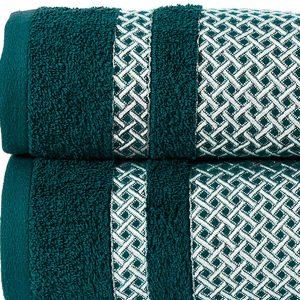 Ręcznik turkusowy ciemny ze srebrną bordiurą kąpielowy 70x140 Silver