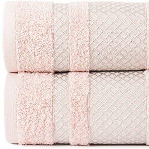 Ręcznik pudrowy róż ze srebrną bordiurą kąpielowy 70x140 Silver