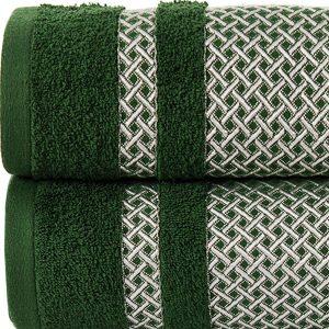 Ręcznik butelkowa zieleń ze srebrną bordiurą kąpielowy 70x140 Silver