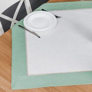 Serweta z mereżka biała zielona 85x85 obrus na stół kwadratowy