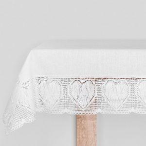 Serweta szydełkowa z koronkową bordiurą kwadratowa biała 85x85