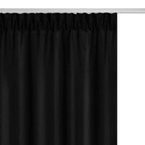 Zasłona krótka na taśmie czarna gotowa 140x175 matowa