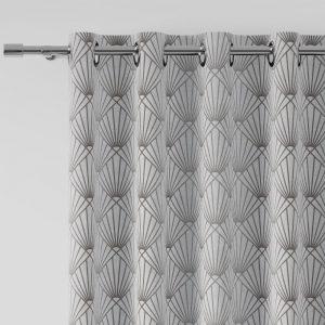 Zasłona geometryczna biała szara gotowa na przelotkach 140x260 pół zaciemniająca