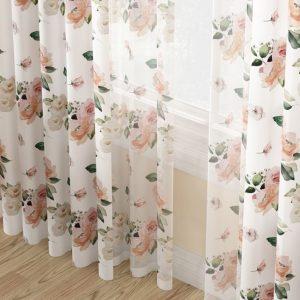 Zasłona gotowa na taśmie w kwiaty biała różowa 140x270 pół zaciemniająca
