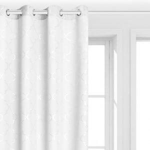 Zasłona marokańska koniczyna biała srebrne wzory 140x250