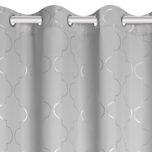 Zasłona srebrne wzory marokańska koniczyna szara 140x250