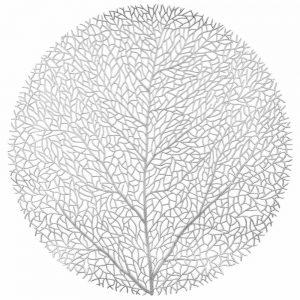 Okrągła podkładka na stół srebrna ażurowa drzewko dekoracyjna 38cm