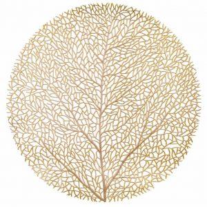 Okrągła podkładka na stół złota ażurowa drzewko dekoracyjna 38cm