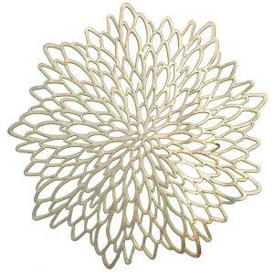 Dekoracyjna podkładka na stół złota ażurowa 38cm okrągła