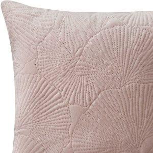 Poszewka 45x45 pudrowy róż dekoracyjna velvetowa ginkgo